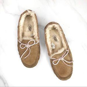 UGG Tan Pink Suede Fur Loafer Moccasins Size 6